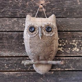 Burlap & Reclaimed Fabric Owl (Inspiration Only, No Pattern or Instruction)