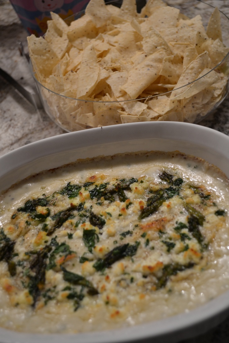 Spring vegetable and goat cheese dip with tortilla chips.