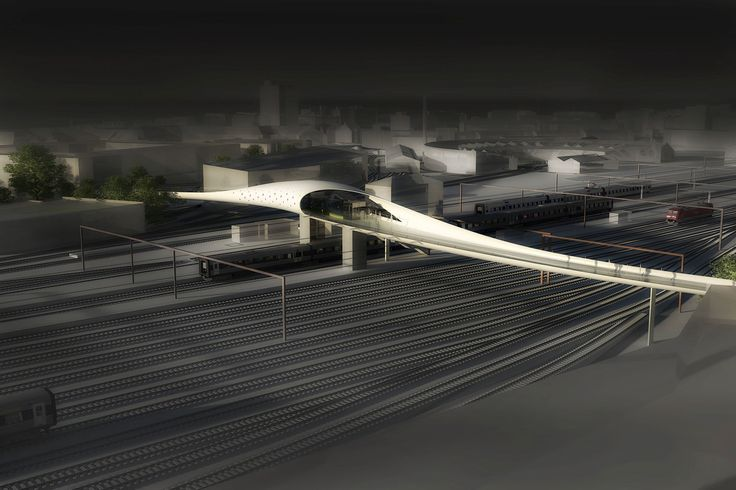 Odense Pedestrian Bridge. The new bridge will serve pedestrians and cyclists, creating a route for getting across the railway tracks west of Odense station and a fixed link between the city and harbour.  By Danish architect firm DISSING+WEITLING