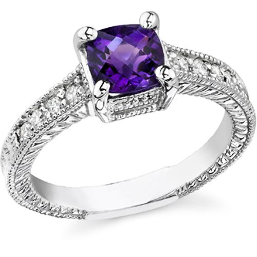 Purple Amythest with White Diamond Ring