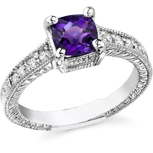 Purple Amythest with White Diamond Ring