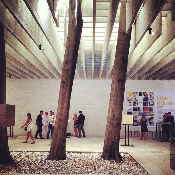 Nordic pavilion by Sverre Fehn (1962). Thin concrete blades make up the ceiling.