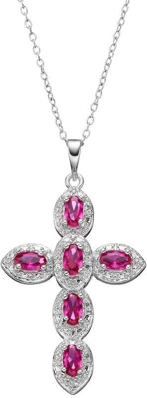 Radiant GEM Lab-Created Ruby Sterling Silver Cross Pendant Necklace