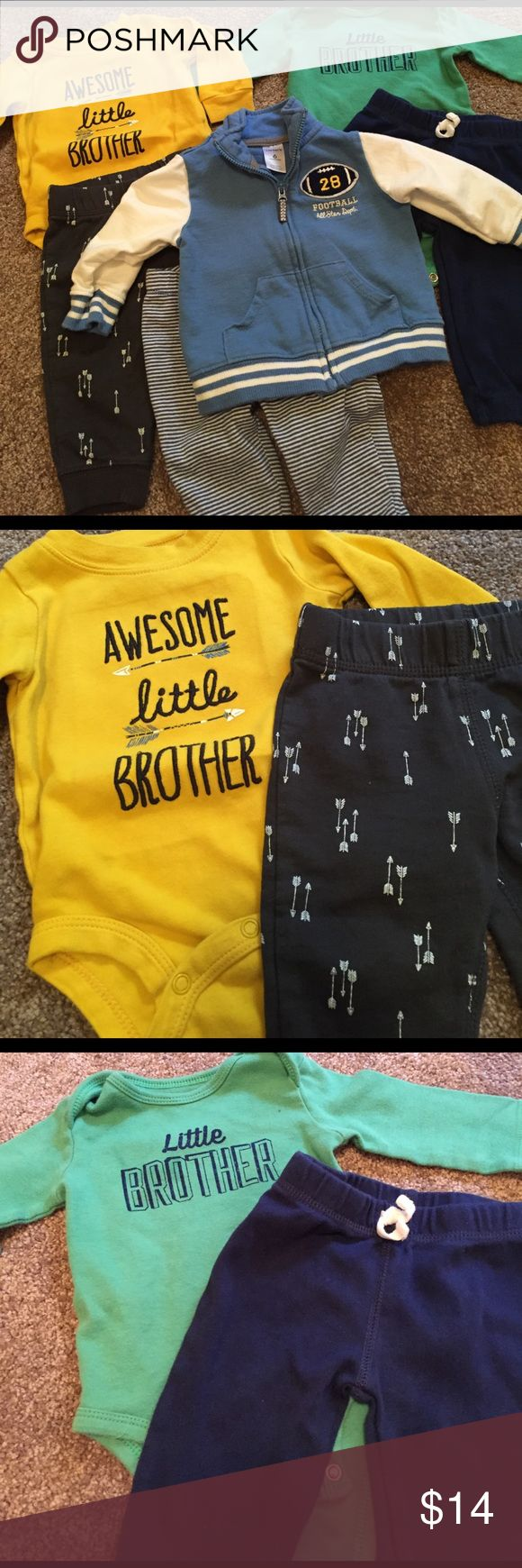 🏈Awesome baby brother bundle ⛺️ ⛺️ Come on, this bundle is oh so adorable. Two baby brother onesies with coordinating the pants, and a super cute football jacket with striped matching pants. 🏈 Carter's Matching Sets