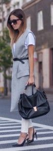 Long grey waistcoat, white pants and t-shirt, black high heels,  handbag and belt. Learn what to wear this fall, 2015 >>> http://justbestylish.com/what-to-wear-this-fall/