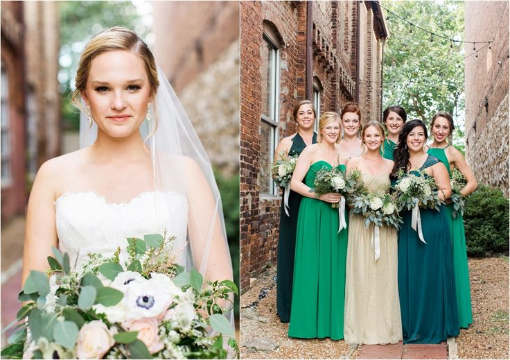 green bridesmaids, mismatched bridesmaid, maid of honor in gold dress, green bridesmaid dresses, earthy, elegant, industrial wedding by charlottesville film photographer, Amy Nicole Photography