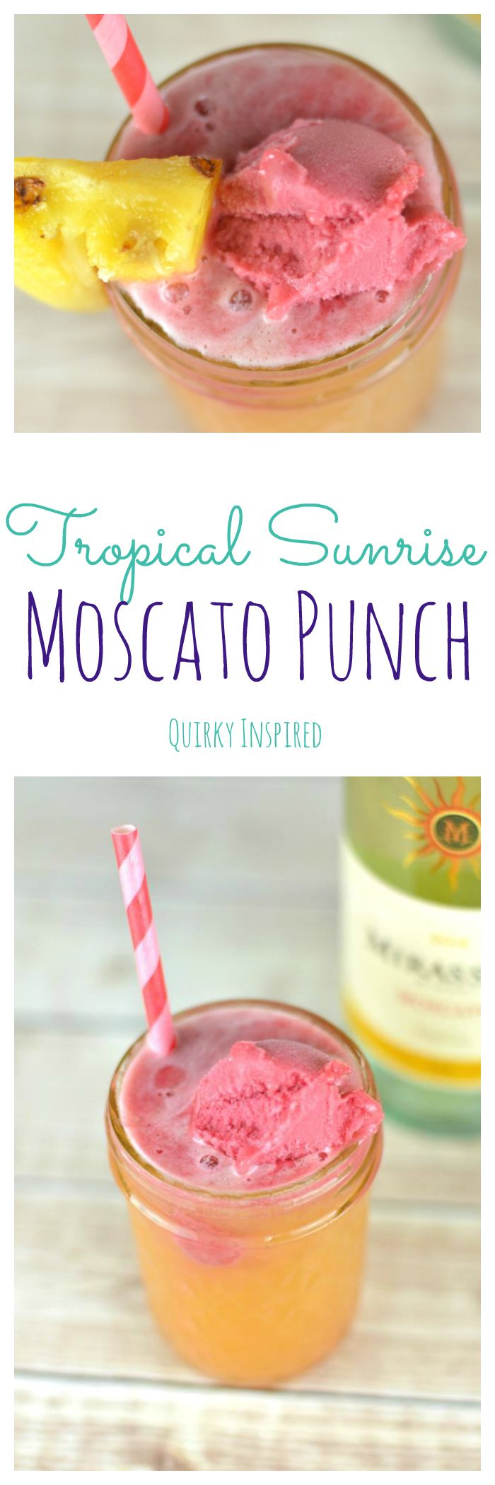 Moscato (heck, any wine) is my mistress! Moscato punch recipe here you come. This is the best moscato punch because it brings the tropical breezes to you without you having to hop on a plane! If you love cocktails made with wine click the pin for the full recipe!