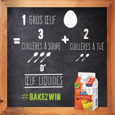 Naturoeuf – Conversion œufs en coquille vers œufs liquides - Saviez-vous que 1 gros œuf équivaut à 3 cuillères à soupe + 2 cuillères à thé de Que des œufs ? Regardez cette image #Bake2Win @BurnbraeFarms