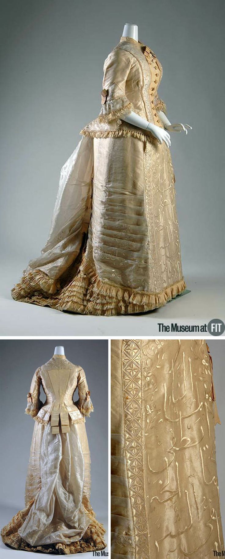 Dress, Mme. Hardy, French, ca. 1877. Cream silk organza and silk faille with silk fringe and chiffon. This two-piece dress consists of a high neck, boned bodice, and a matching, trained skirt hand-embroidered with Arabic characters. Museum of the Fashion Institute of Technology