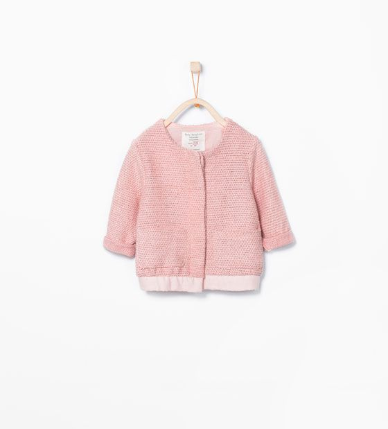 Image 2 of Contrast knit cardigan from Zara