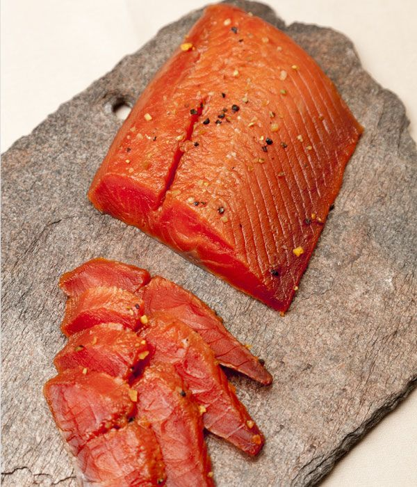 Maple-cured Alaska salmon recipe - This effortlessly simple maple-cured salmon recipe from Pascal Aussignac will make a tasty dinner party treat, either as a canape or light starter. Serve with some nice crusty bread and a dollop of horseradish, beetroot or dill mayonnaise, perhaps.