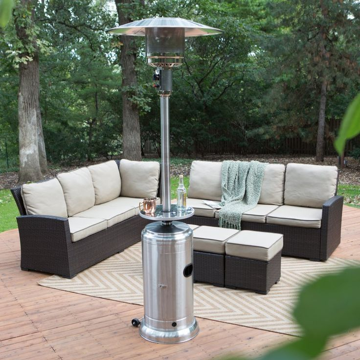 Red Ember Stainless Steel Commercial Patio Heater With Table   61891
