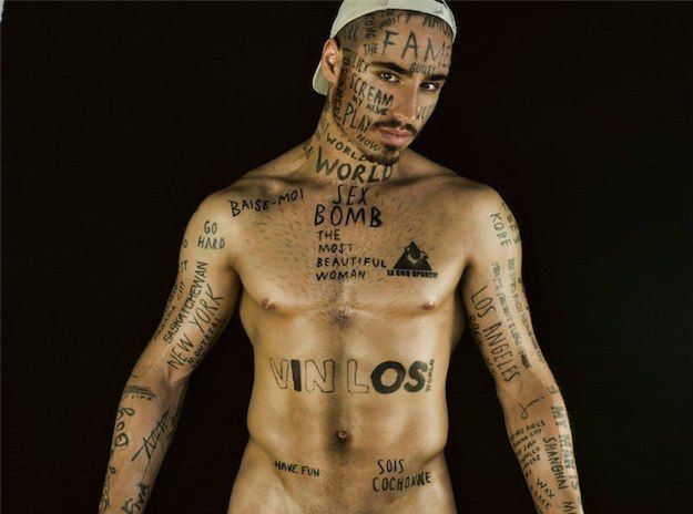 This really hot male model thinks his face tattoos will take him to the next level