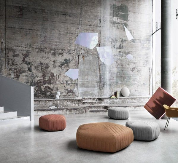 Five is a pouf designed by Anderssen & Voll for Muuto -  Five comprises a pouf collection by the different sizes, whose lines recall the furrows of the plowed fields in an orderly manner.