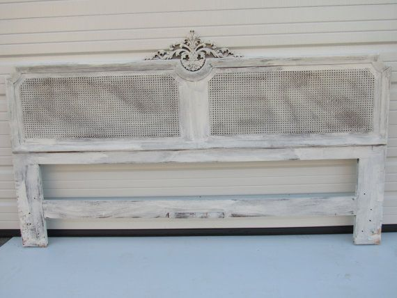 French Provincial Caned Headboard Vintage King by VforVintageInc