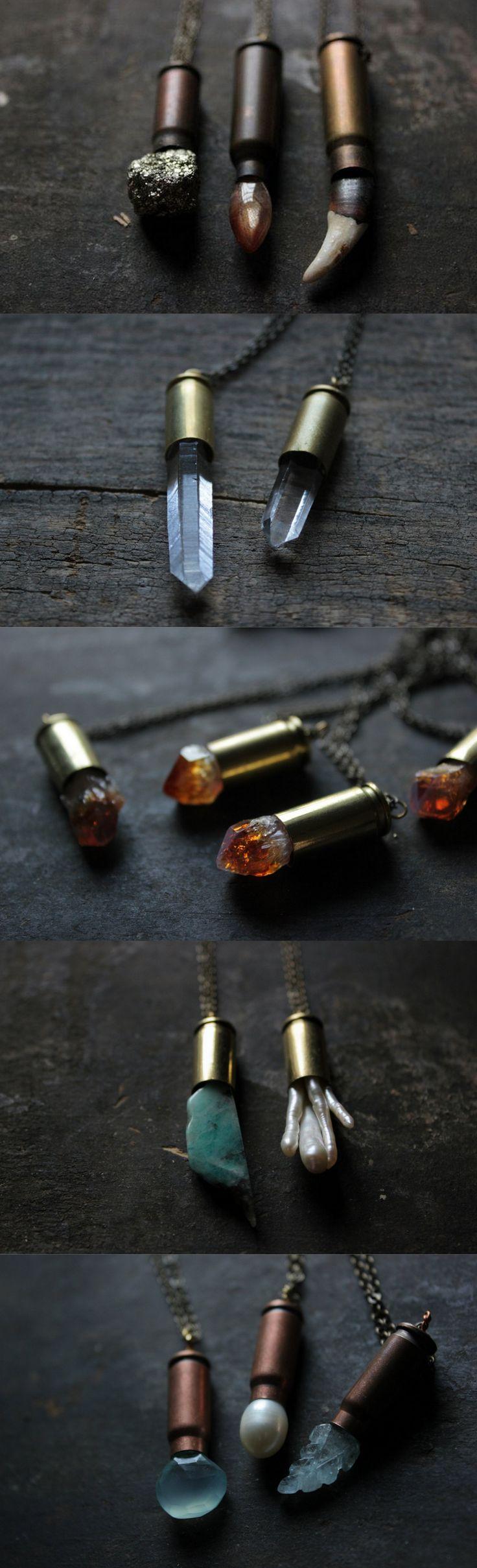 Bullet necklace,bullet jewelry,quartz crystal necklace, raw quartz…