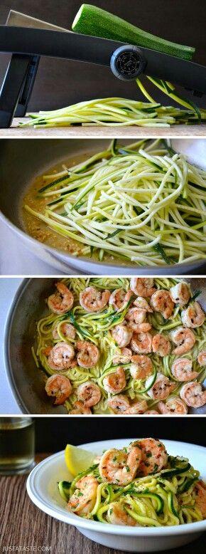 Zucchini nudeln, Zitrone, Shrimps, Öl, Knoblauch, Weißwein