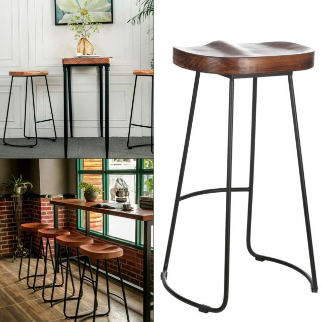 Set Of 2 Industrial Bar Stools Kitchen Breakfast High Chair Wood Pub Seat Uk For Sale Online Kitchen Stools Kitchen Bar Stools Industrial Bar Stools