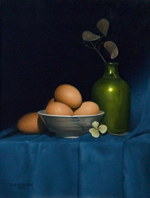 """https://www.facebook.com/MiaFeigelson """"Emerging from darkness"""" By Mina de la Cruz, from the Philippines (current location, Canada) [from her Gallery """"Still Lifes""""] - oil on linen; 16 x 12 in - http://www.minadelacruz.com/index.php"""