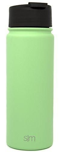 Simple Modern 18oz Summit Water Bottle  Extra Lid - Vacuum Insulated Stainless Steel Wide Mouth Hydro Travel Mug - Powder Coated Double-Walled Flask - Mint Green