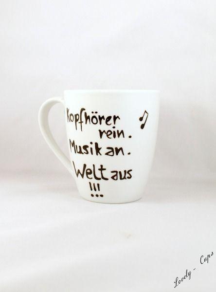 Musik Fan Tasse / Becher,  Geschenk Kaffee Tasse von Lovely-Cups auf DaWanda.com