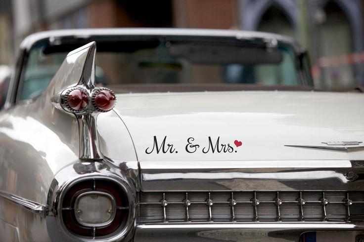 """Hochzeitsdeko - Autoaufkleber Hochzeit """"Mr. & Mrs."""" 003 - ein Designerstück von jamsstyle bei DaWanda"""