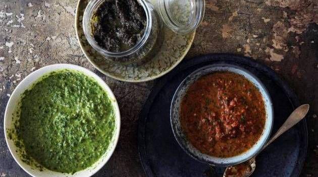 Smag. Fra venstre mod højre: 4. salsa verde, 5. oliventapenade og 6 harissa. - Foto: Columbus Leth