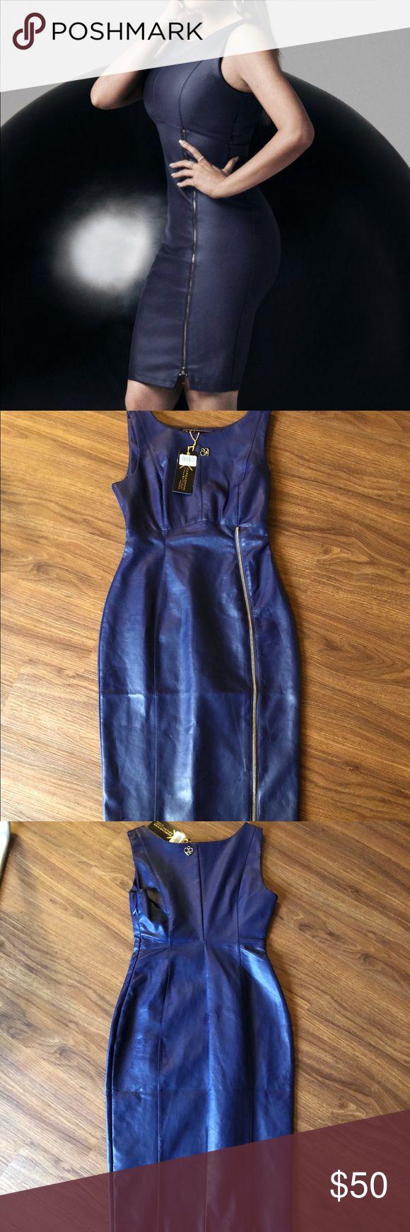 NWT Kardashian Kollection faux leather dress navy Nwt Kardashian Kollection faux leather dress  Size 4 navy blue Kardashian Kollection Dresses