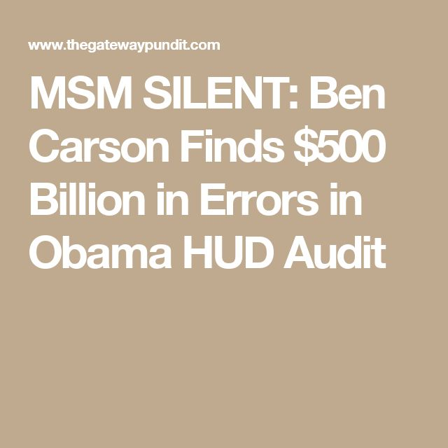 """Awe, mr smarty pants supposedly grad of crooked Harvard """"obama"""" made a small mistakey! Drain the Swamp Trump!!! MSM SILENT: Ben Carson Finds $500 Billion in Errors in Obama HUD Audit"""