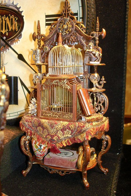 Good Sam Showcase of Miniatures Show: October San Jose, CA: Class:  Steampunk - Tall Etegere with antique wood and brass birdcage, antique  glassware. - 2107 Best Birdcages Images On Pinterest Beautiful, Antiques And
