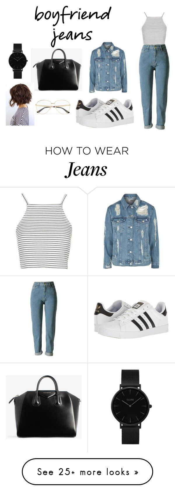 """""""how to wear boyfriend jeans ?!!!"""" by mathildepl07 on Polyvore featuring Topshop, adidas, Givenchy, Gucci, CLUSE and boyfriendjeans"""