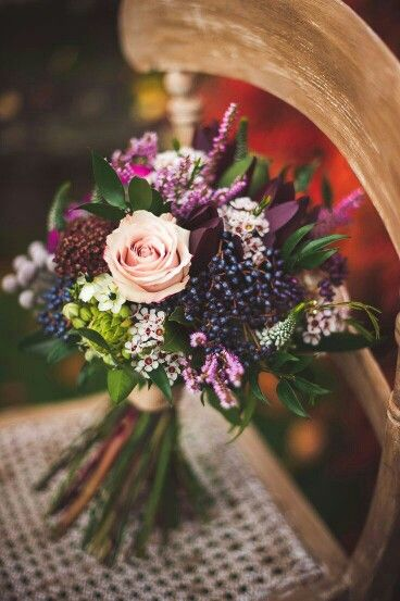 Gorgeous Colors In This Bouquet: Pastel Pink Roses, Pink Lilac, White Wax Flower, Dark Blue Privet Berries, Pink Andromeda, Star Of Bethlehem, Silver Brunia, Magenta Spray Roses, Burgundy Chrysanthemums, White Veronica, Red Astilbe, Misc. Mixed Foliage××××