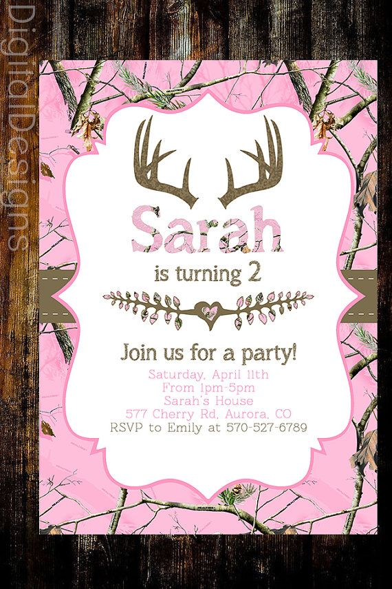 Pink Camo Birthday Invite 1st Birthday 2nd by DigitalDesigns3
