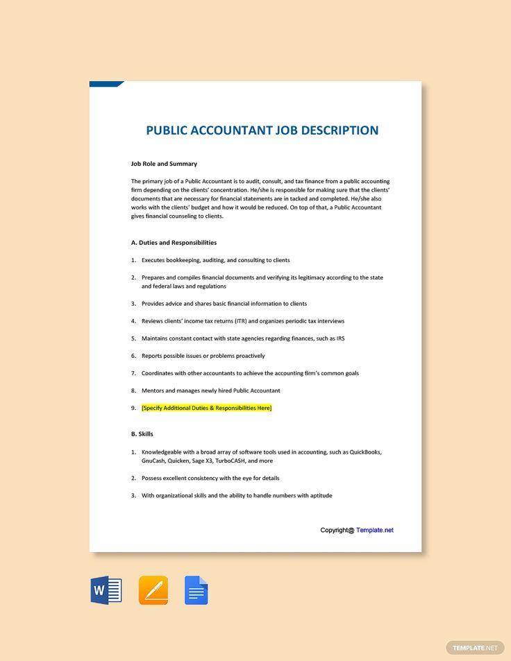 Free public accountant job addescription template in 2020