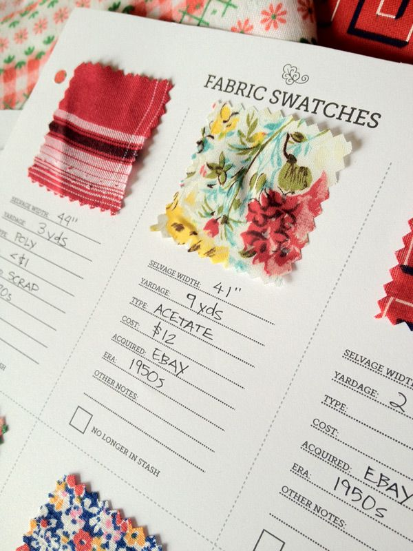 Oooh, this is a great way to remember what fabrics you have! Your own swatch library. :)