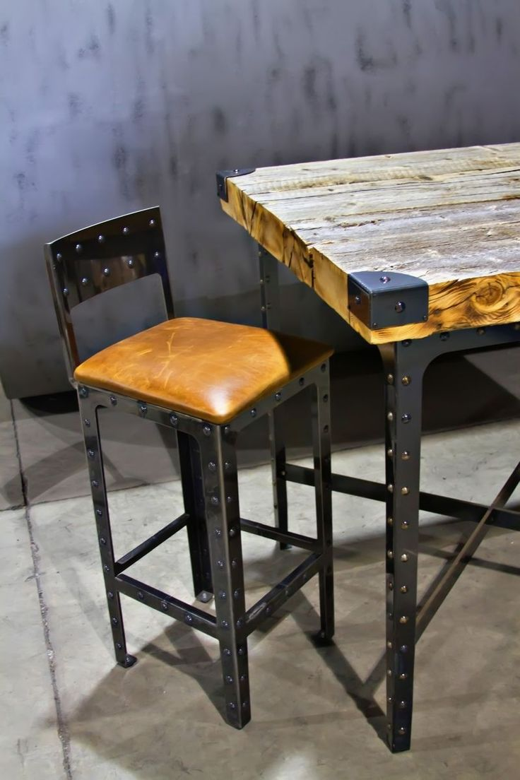 Custom Made Industrial Pub Height Table U0026 Bar Stools