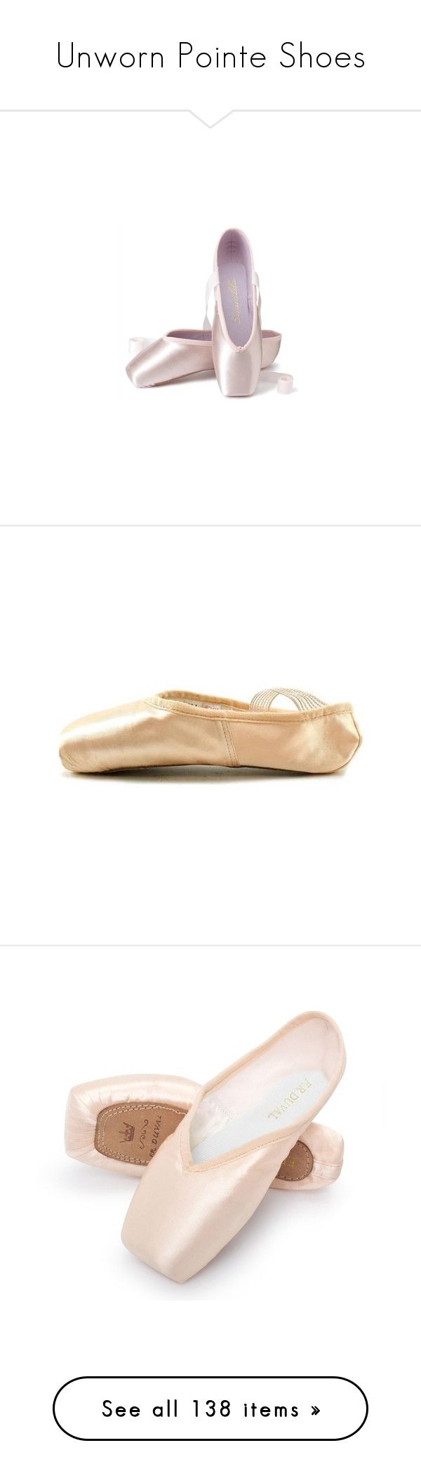"""Unworn Pointe Shoes"" by gymholic ❤ liked on Polyvore featuring shoes, flats, ballet, dance, ballerina shoes, flat pump shoes, ballet shoes, ballet flats, flat heel shoes and pointed ballet shoes"
