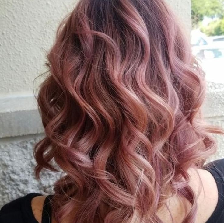 Rose gold, dusty blush pink balayage Aveda hair color inspiration by stylist Chelsea. Formula in comments.