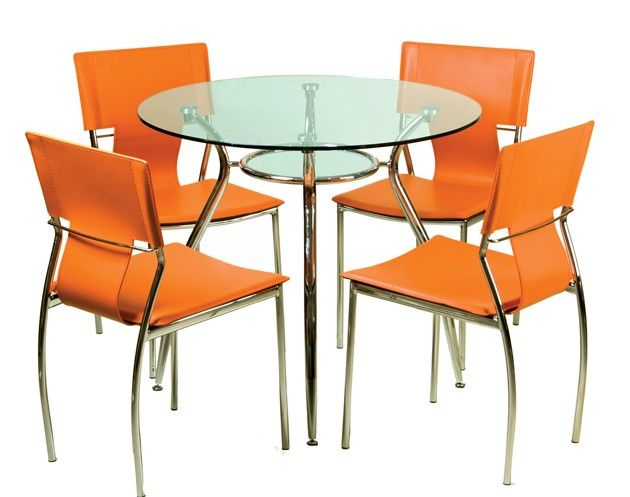 The contemporary style of this set will create a very chic focus to your dining area. The table features a tempered glass top that rests on chrome steel base with a glass accent piece underneath the top. Chairs are beautifully upholstered in leatherette on chrome steel legs with plastic floor protectors.