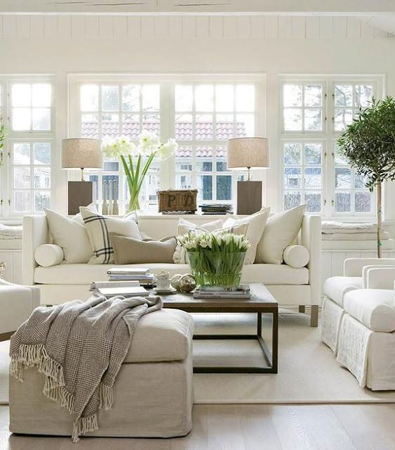 Living Room Decor Ideas   Traditional Style, Neutral Living Room With  Slipcovered Chairs And Ottoman