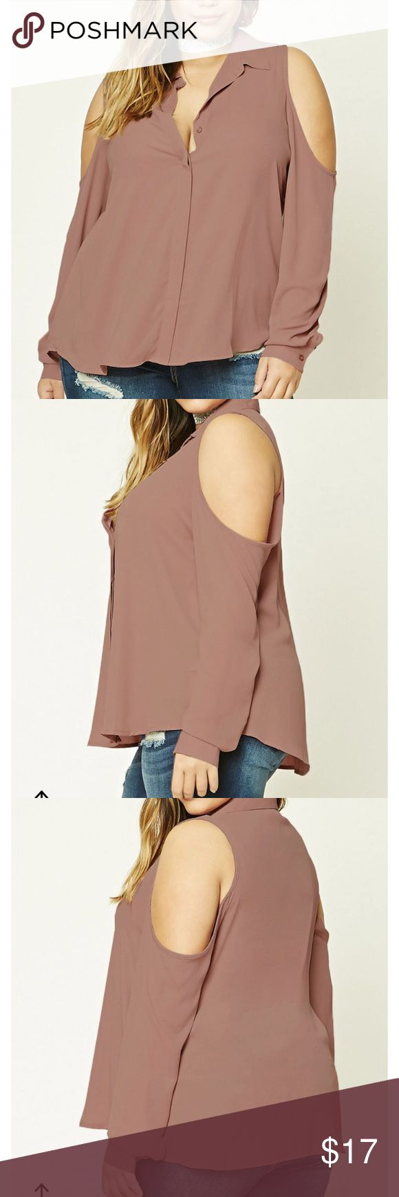 Mauve Cold Shoulder Blouse Mauve cold shoulder blouse from Forever 21, NWT. Too small for me in the chest area. This is only up for two days so get it now! Forever 21 Tops Blouses