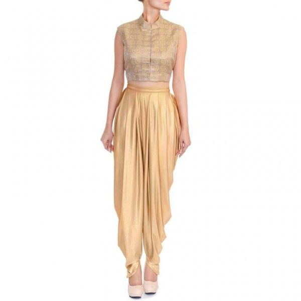 O'Mann Crop Top paired with Dhoti Pants