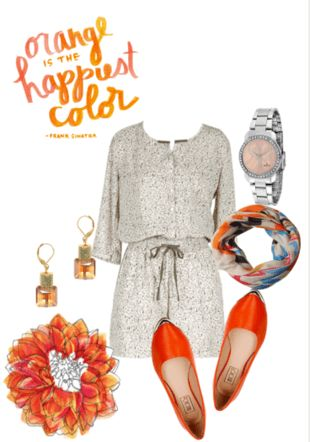 #Orangebellies paired with a casual evening dress and a smart watch  #orange #flats #orangeflats #INTOTO