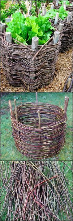 How To Make Your Own Wattle Garden Beds http://theownerbuildernetwork.co/uyu0 These handwoven planters will cost you nothing except a walk in the woods. Would you like some at your place?: