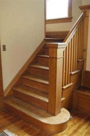 Craftsman Staircase With Hardwood Floors