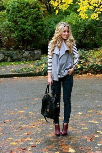 Women's Grey Wool Vest, White and Black Horizontal Striped Long Sleeve T-shirt, Teal Print Skinny Jeans, Burgundy Leather Ankle Boots