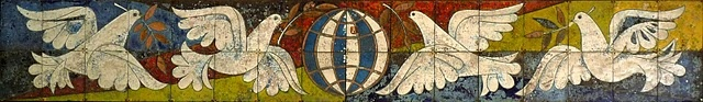 Walter Womacka (1925-2010), Tauben und Weltkugel (Dove and Globe), 1967. Ceramic mural located above the entrance to the former German Democratic Republic government guesthouse in Berlin-Pankow.