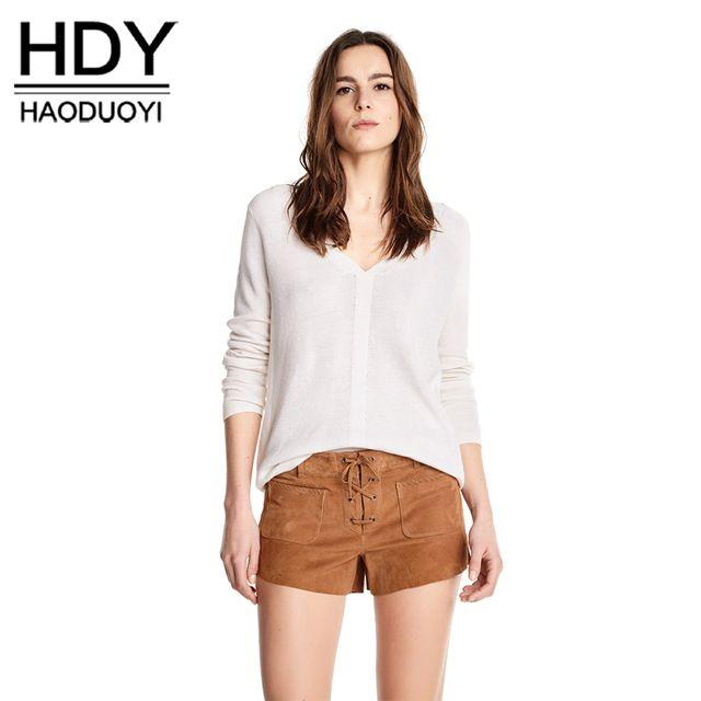 HDY Haoduoyi Мода Трикотажные Топы Женщины С Длинным Рукавом Женщины Пуловер Топы Сладкий Насыщенный Белый V-образным Вырезом Случайные Дамы Свитер