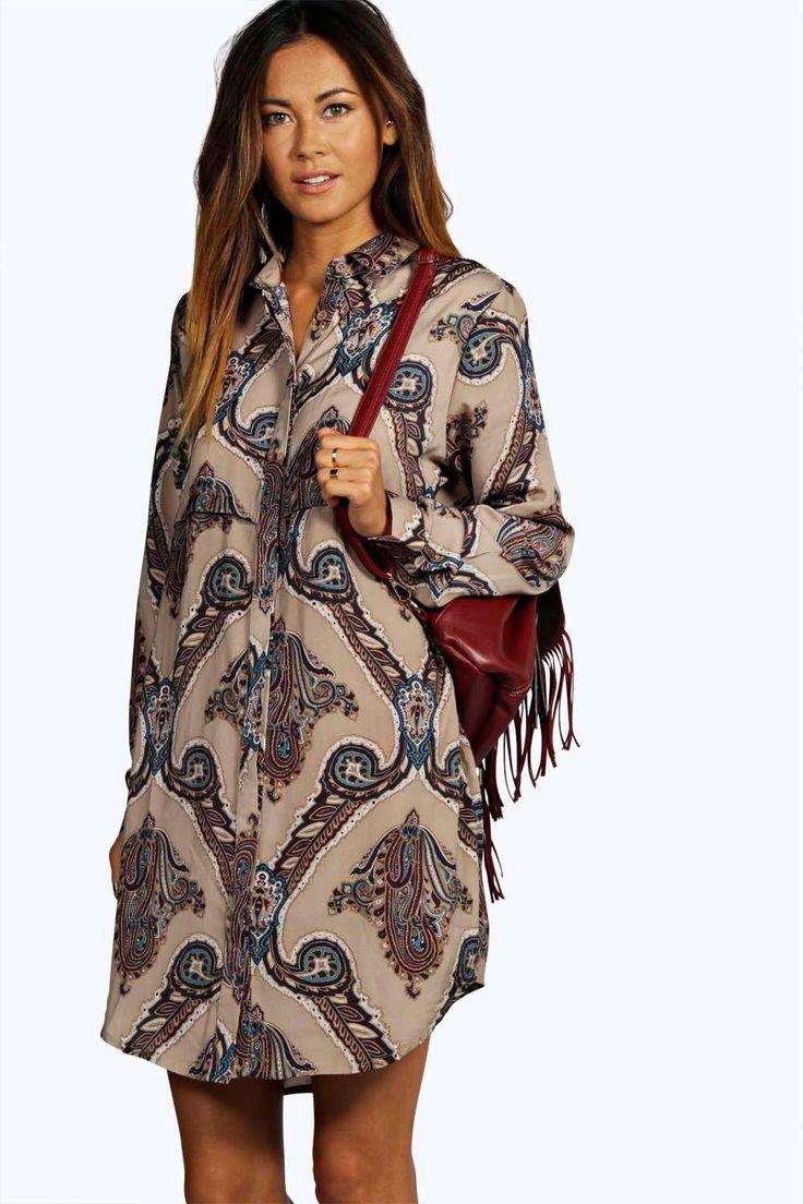 Larissa Paisley Print Shirt Dress | Boohoo | Fashion in 2019