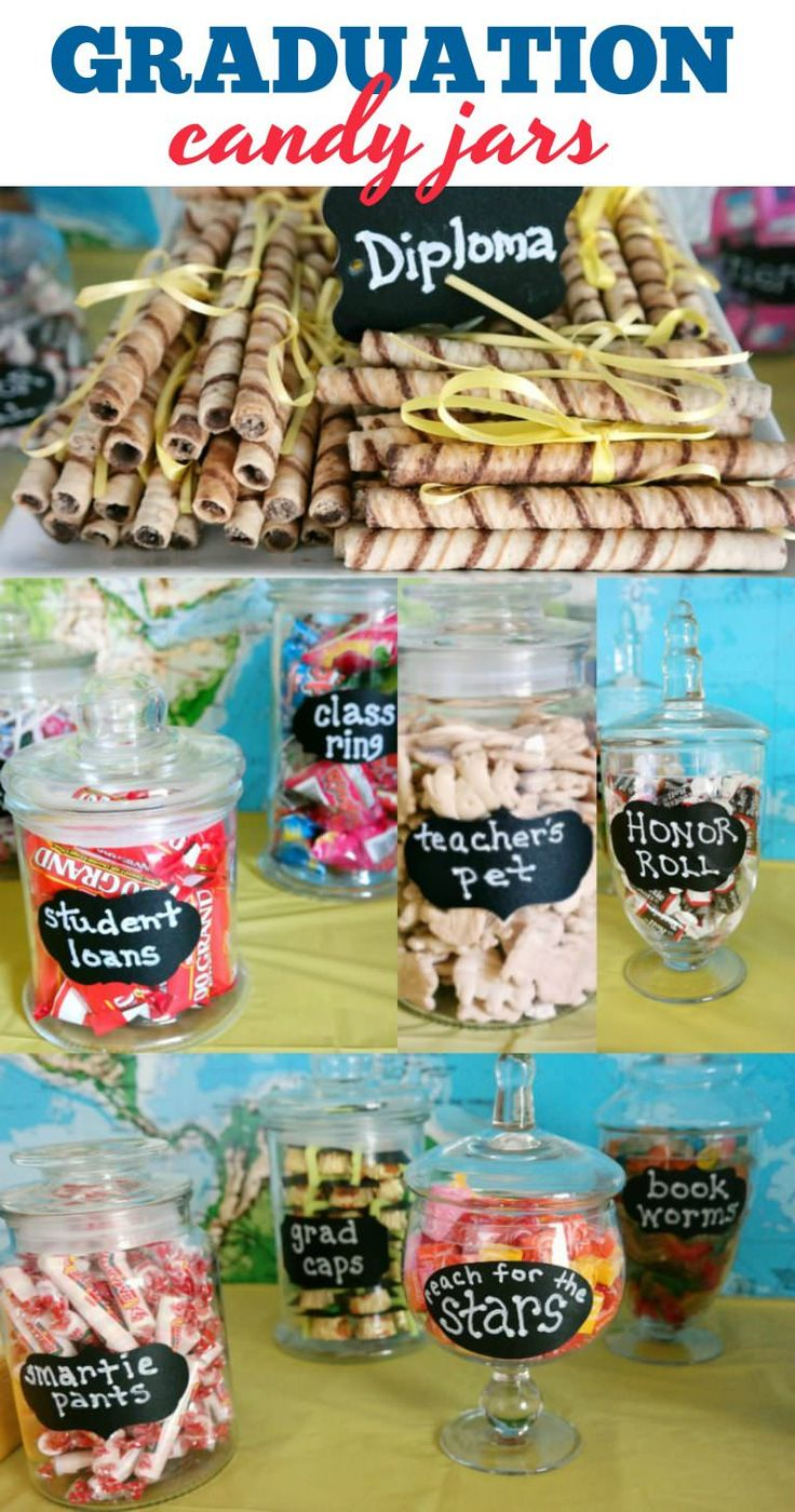 So many fun candy ideas for Graduation Parties! Diploma cookies, student loans, teachers pet, honor roll, and more!